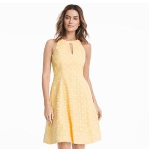 Sleeveless halter A-line dress in canary yellow